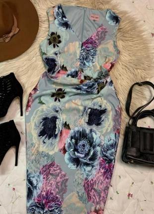 Шикарное платье миди рл фиге в цветах