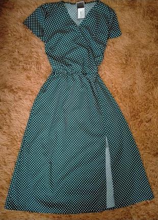 Распродажа! великолепное легкое воздушное платье на запах в мелкий горошек миди