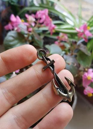Кольцо на два пальца бронзового цвета якорь морской море украшение