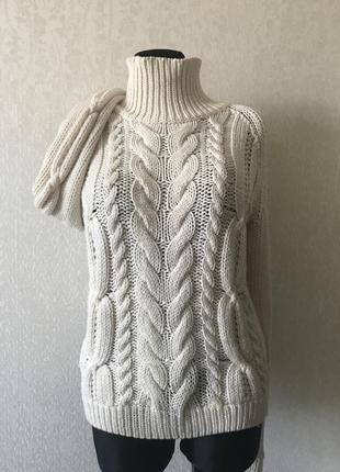 Hugo boss вязаный в косы свитер из мягкой шерсти. размер м