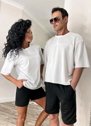 Костюм парный мужской / женский футболка оверсайз шорты 3 цвета