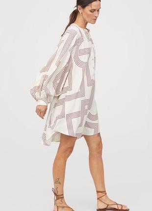 Натуральное платье туника с широким рукавом р 12