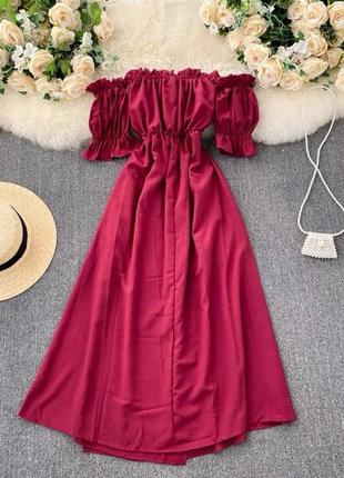 Платье легкое, расклешенное, с открытым декольте,8004/368, бордо