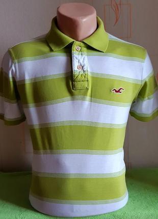 Модная салатовая футболка поло в полоску hollister made in vietnam, молниеносная отправка1 фото
