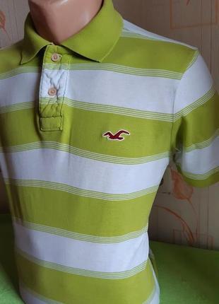 Модная салатовая футболка поло в полоску hollister made in vietnam, молниеносная отправка2 фото