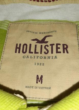 Модная салатовая футболка поло в полоску hollister made in vietnam, молниеносная отправка3 фото