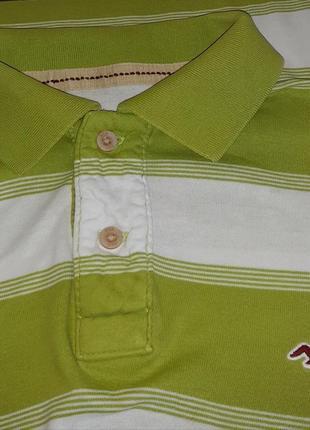 Модная салатовая футболка поло в полоску hollister made in vietnam, молниеносная отправка4 фото
