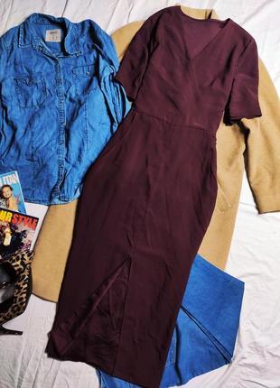 Платье бордо бордовое марсала бургунди винное миди с вырезом спереди на ноге
