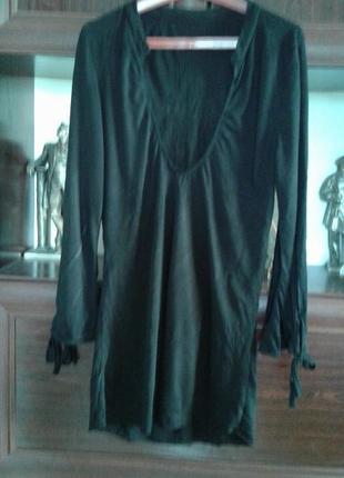 Хлопковый трикотажный лонгслив, кофта с длинным рукавом черная с декольте