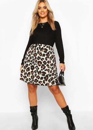 Boohoo платье чёрное с длинным рукавом бежевый леопардовый принт новое миди