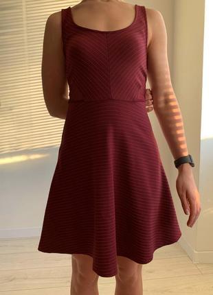 Бордова сукня, короткое платье, бордовое платье майка.