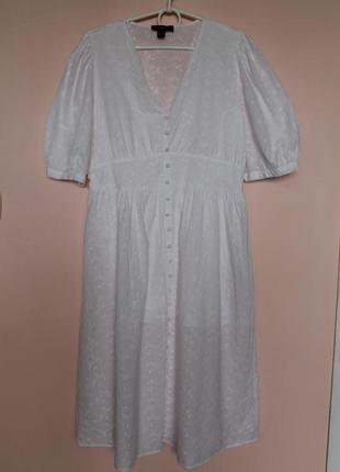 Белое хлопковое платье с прошвы, платьице прошва, сукня, сарафан 50-52 р.