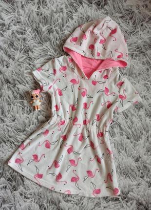 Детская туника белая, махровая туника для девочки фламинго