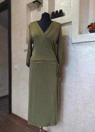 Платье на запах хаки h&m