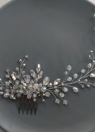 Серебристый гребень свадебное украшение в прическу веточка в прическу