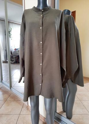 Роскошная удлинённая вискозная рубашка 👕, туника большого размера