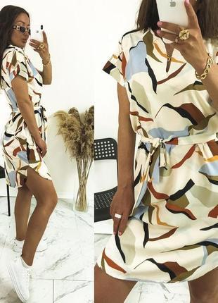 Легкое платье блуза, в цветочный узор, беж, оливка, синий, голубой, хаки