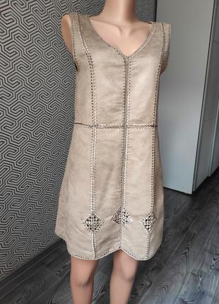 Платье сарафан под замшу цвета кофе тренд сезона divided