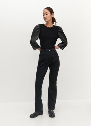 Джинси чорні, трендові прямі, стильні, трендові джинси жіночі.