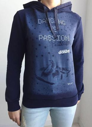 Кофта c капюшоном темно синяя кофта джемпер свитер danza кофта италия.