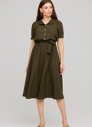 Базовое платье мили софт воротник стойка короткий рукав пояс карманы