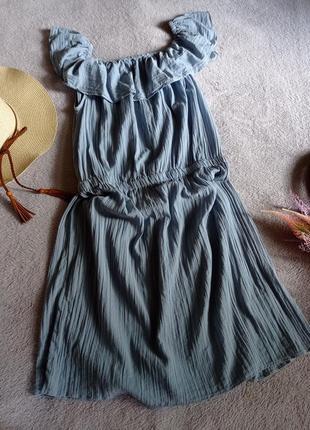 Натуральное лёгкое жатое платье