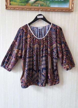 Красивая кофта батал блузка с открытыми плечами и рукавами принт геометрия от бренда  wallis