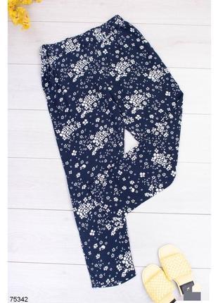 Брюки женские штаны штани с высокой посадкой завышенной талией на резинке сині синие в принт