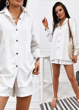 Женский костюм шорты и рубашка лён3 фото