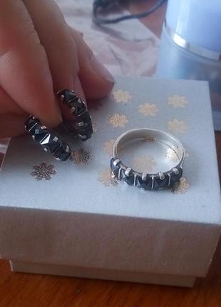 Серьги+кольцо серебро 925 пробы (возможен обмен)