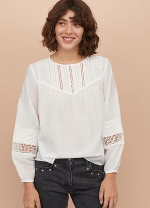 Новая хлопковая блуза h&m из натуральной ткани