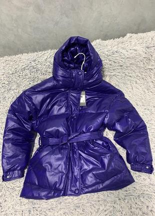 Куртка пуховик оверсайз в стиле ienki ienki фиолетовая
