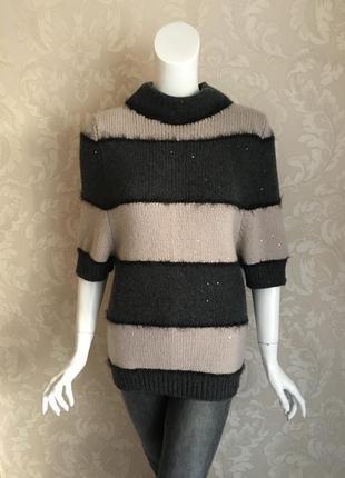 Brunello cucinelli оригинал италия кашемировый удлиненный свитер