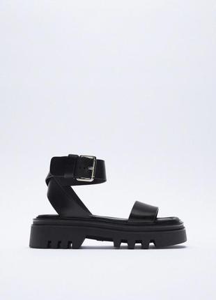 Босоножки кожаные зара на платформе сандалии zara