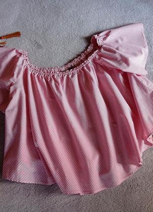 Свободная натуральная блуза топ а полоску  new look