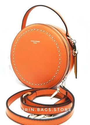 David jones сумка круглая кроссбоди клатч через плечо оранжевая 021