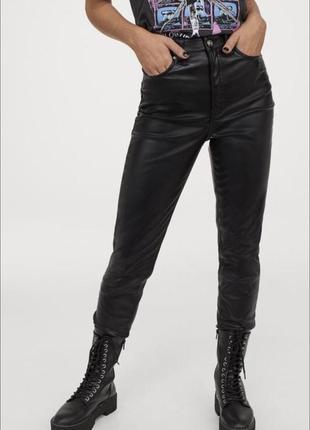 Штаны брюки джинсы skinny скинни лощёные черные h&m