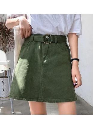 🔗джинсовая юбка базовая юбка хакки трендовая юбка-мини джинсовая зеленая юбка
