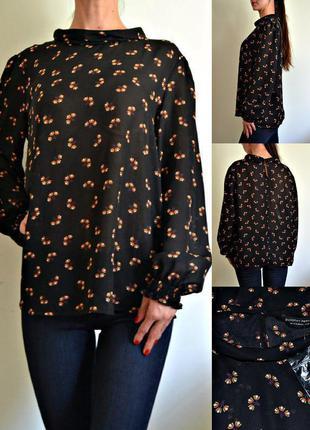 Шифоновая блуза с интересным воротом, длинный рукав