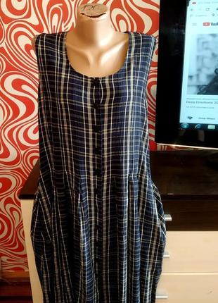 Стильное платье/сарафан,трапеция,в актуальную клетку,миди, пуговицы, вискоза