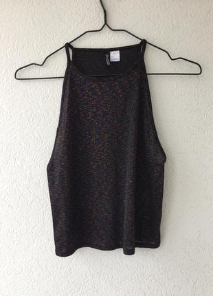 Сногсшибательный сияющий топ майка блуза с открытыми плечиками