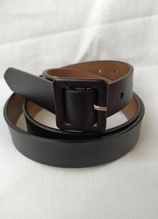 Женский кожаный пояс черный ремень квадратная пряжка