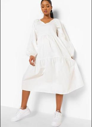Стильное свободное платье миди из хлопкового поплина boohoo