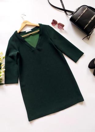 Шикарное изумрудное зеленое платье mango
