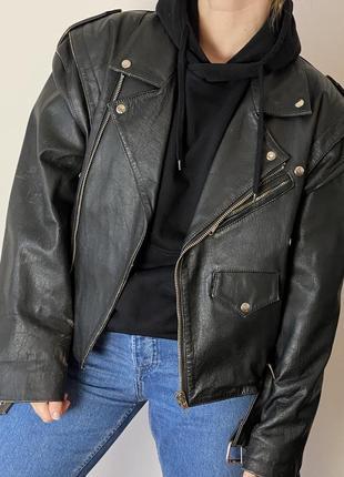 Вінтажна байкерська куртка, шкіра косуха