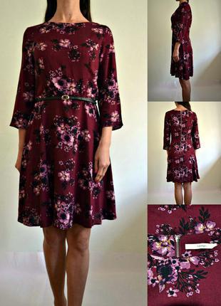 Легкое платье марсала в цветочный принт