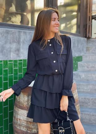 Женское короткое платье с рукавами