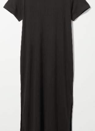 Платье-футболка черное хs weekday