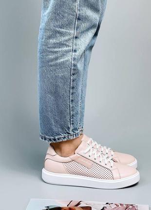 Женские кожаные розовые  кроссовки кеды с перфорацией