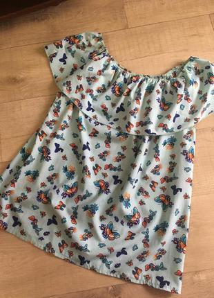 Распродажа срочно блуза майка топ футболка на плечи в бабочках